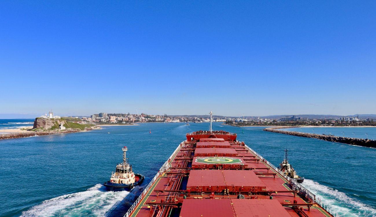 Ship Entering Newcastle Harbour